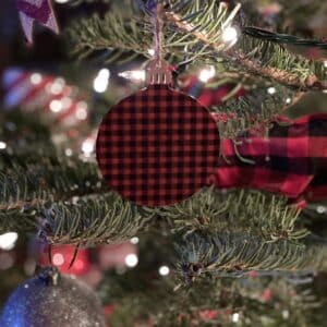 Red and black Buffalo plaid ornament